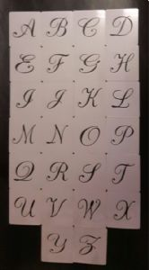 Large 5 cm height alphabet letters A - Z plastic stencils for craft Mylar 350 mi